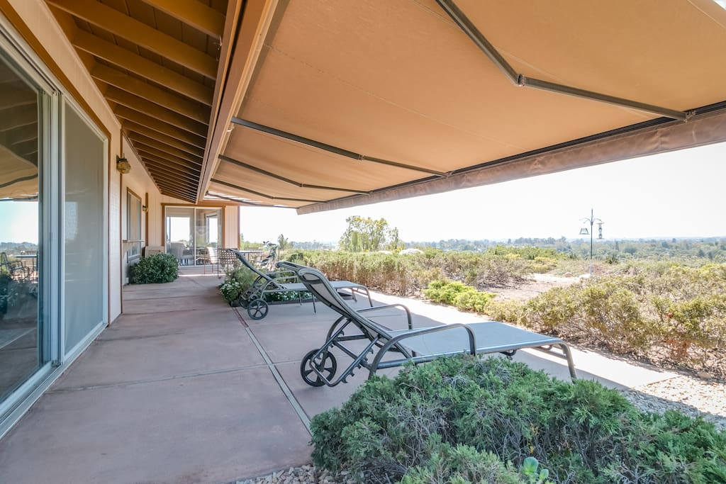 Shaded patio overlooking the view