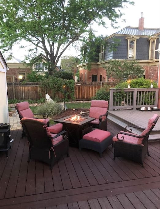Comfortable seating around the fire pit.
