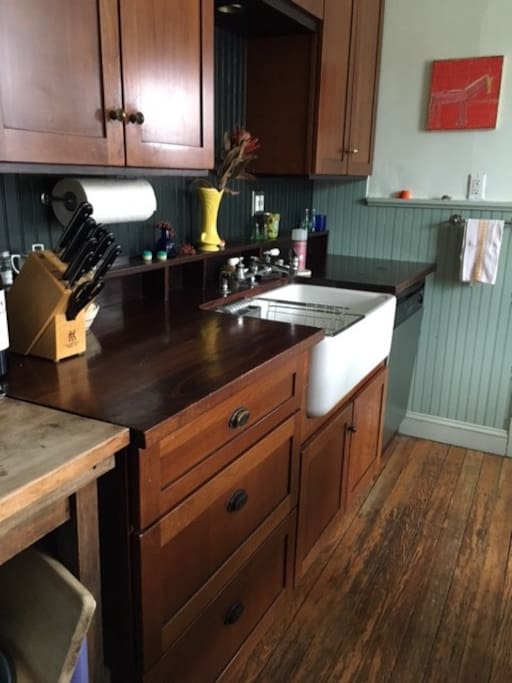 Kitchen: French country sink in large, shared kitchen