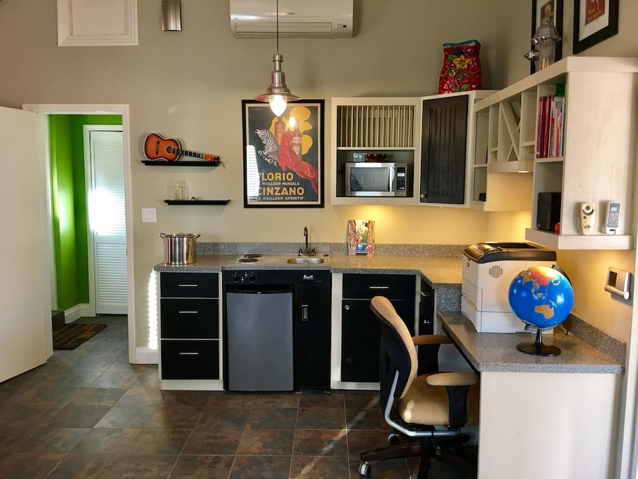 Kitchenette and office-ready workspace
