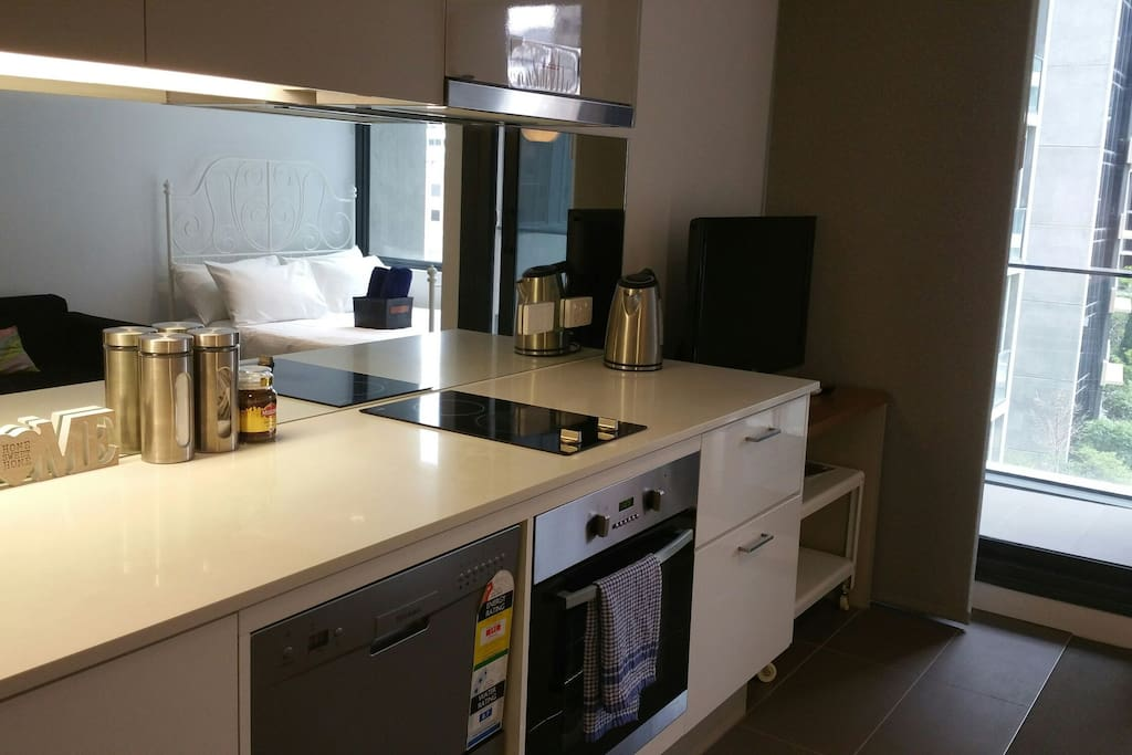 Kitchen with dishwasher, kettle, tea, coffee provided