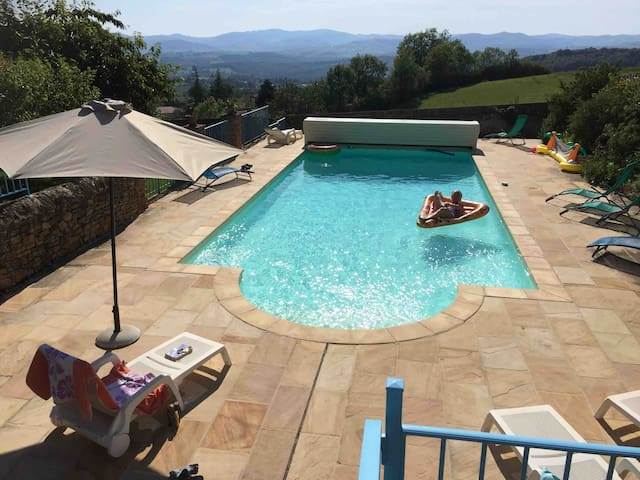 A pool with a view,  across 25km to Les monts du Tarare and les monts Lyonnais.