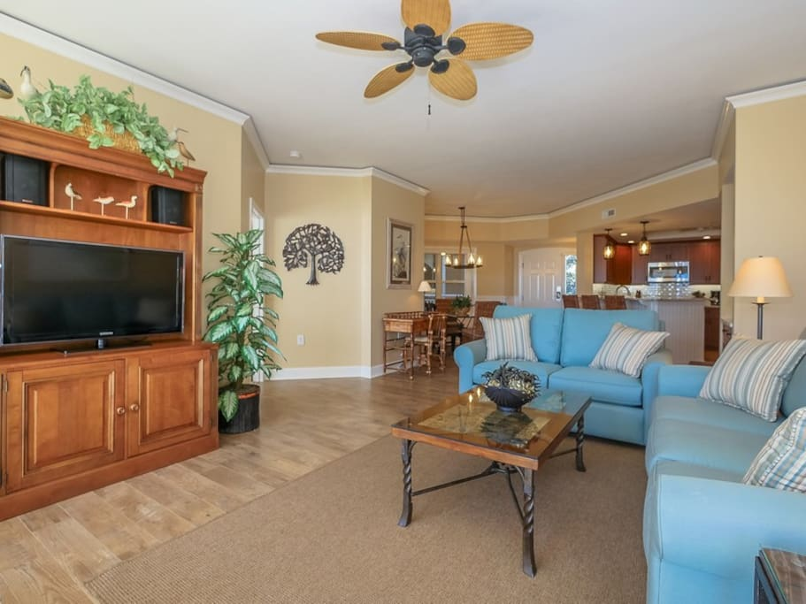 The Living area at 5303 Hampton Place includes a 42 inch flat panel TV and DVD player