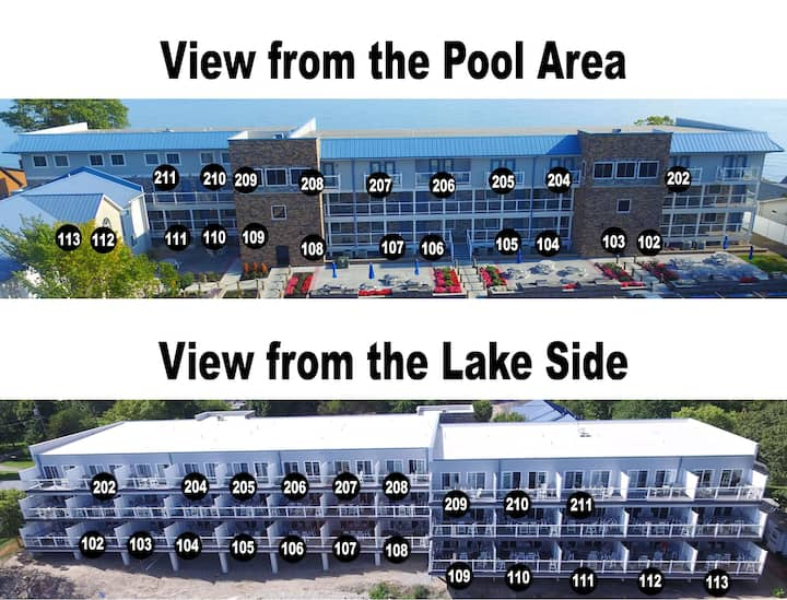 Stunning New Lakefront Condo with 4 BR & 3 BA - Waterfront Deck - 12 ppl max - Put-in-Bay Waterfront Condo #107