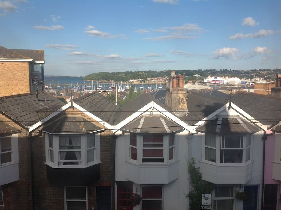 View from the house of Cowes harbour & marina, approx 3 mins walk.