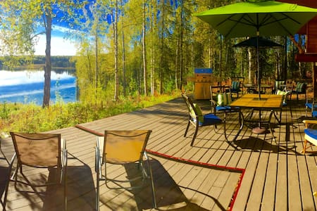 Lake front log cabin, centrally located - Talkeetna - Dom