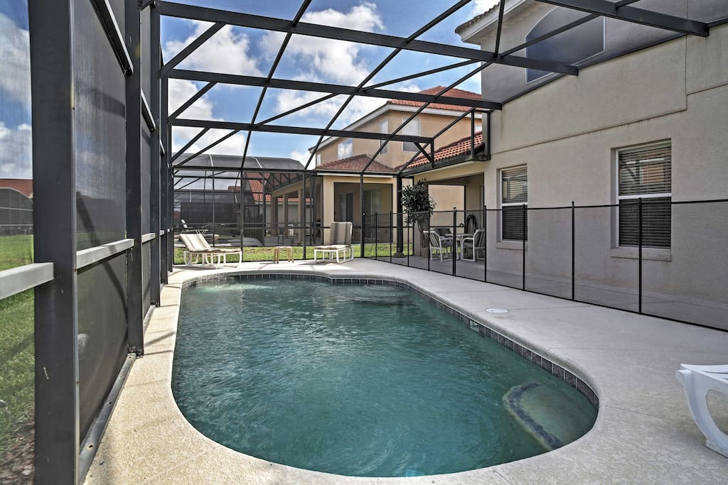 Spend time in your backyard, which features a private covered pool.