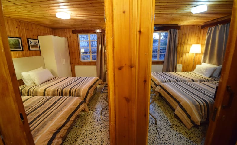 quadruple 4 single beds, view, verandha