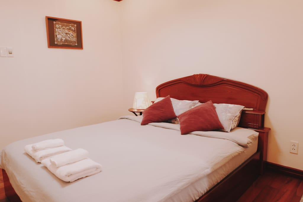The master bedroom is fully-furnished with a high-quality bed and mattress for your comfort.