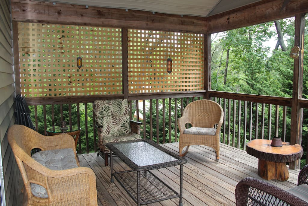 Covered porch.  Seating for six.  Long range views.  No mosquitos.