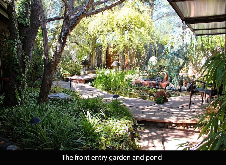 The front entry garden and pond.