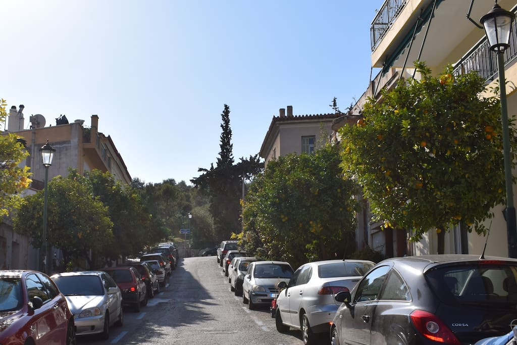At the top of the street is the entrance of Pnyca and the Philopappou Hill.