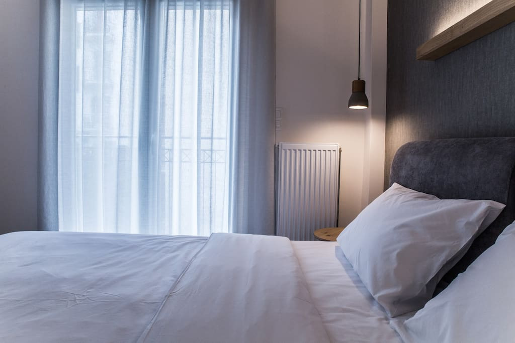 From the bedroom you will enjoy the direct day light, but if you wish you can use the blinds to make the day night