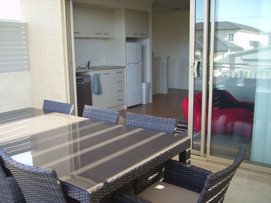 The balcony comfortably accomodates 10 with easy access to the well equipped kitchenette, this is a perfect spot for a quiet drink, breakfast or your evening meal.