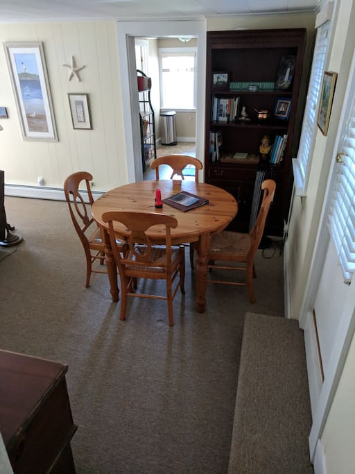 dining table; view into kitchen