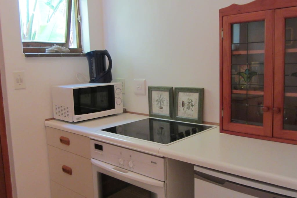 Fully equipment kitchen with stove, microwave and fridge