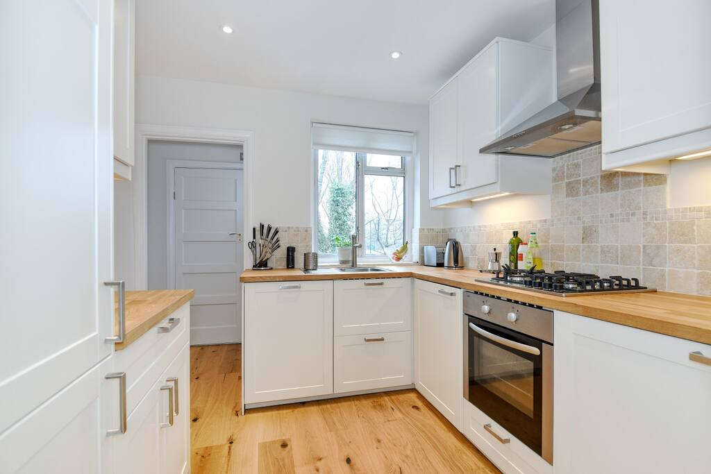The kitchen was recently refurbished and also contains a gas hob and electric oven.