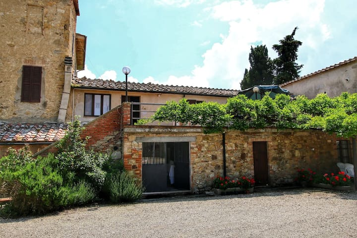 Large apartment with private terraces on a farm in the heart of Tuscany