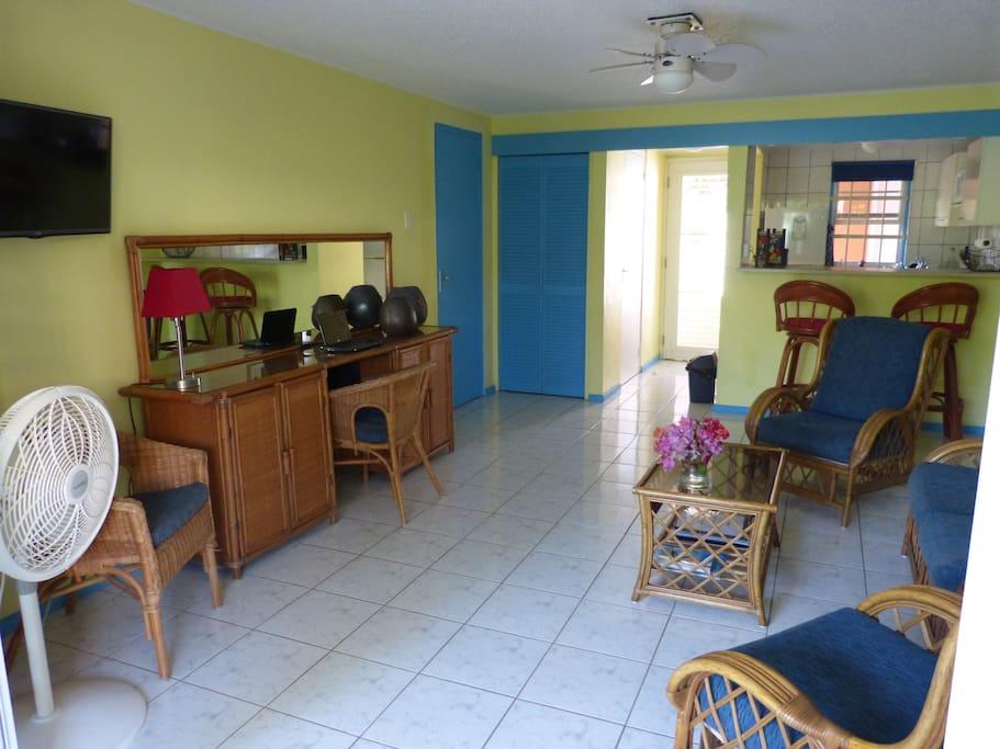 overzicht woonkamer met open keuken, tropische inrichting en TV met Nederlandse zenders,