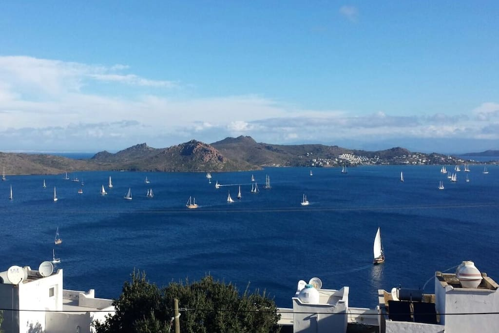 View from the balcony of the superyachts sailing for the day