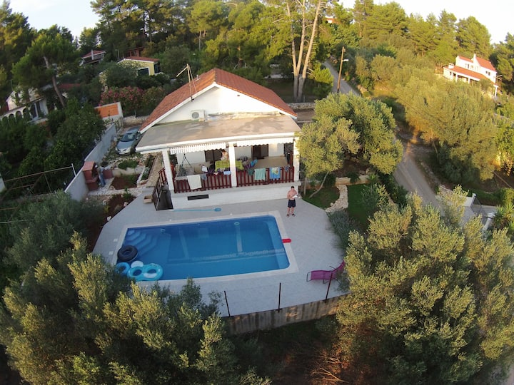 House surrounded by olive trees with swimming pool