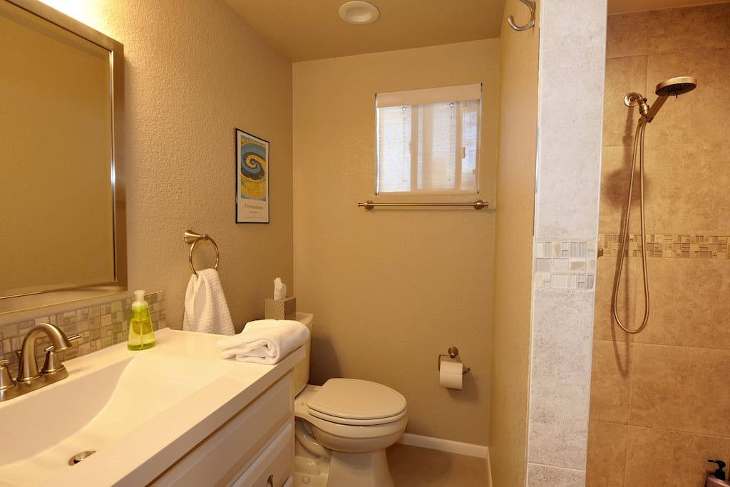 New ensuite bathroom with walk in shower.