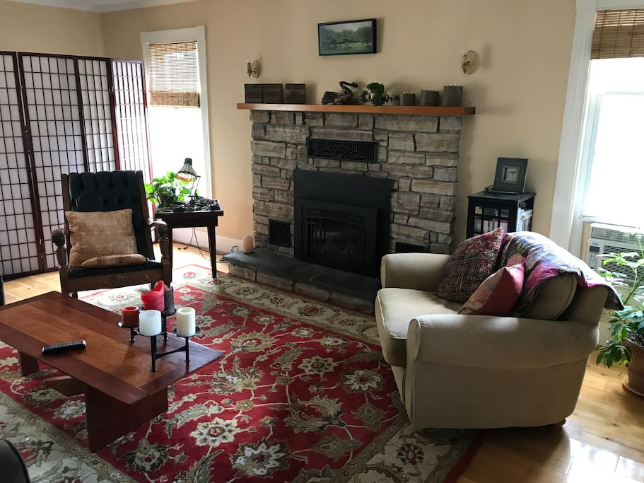 Cozy living room with a gas fireplace