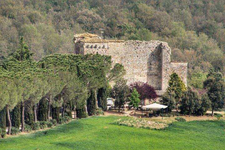 Il castello di Belforte visto dal paesino di Fiore in Todi.