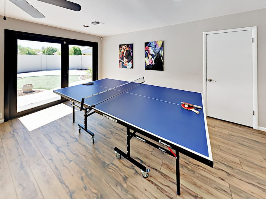 Be sure to enjoy the added fun of a ping-pong table in the dining room.