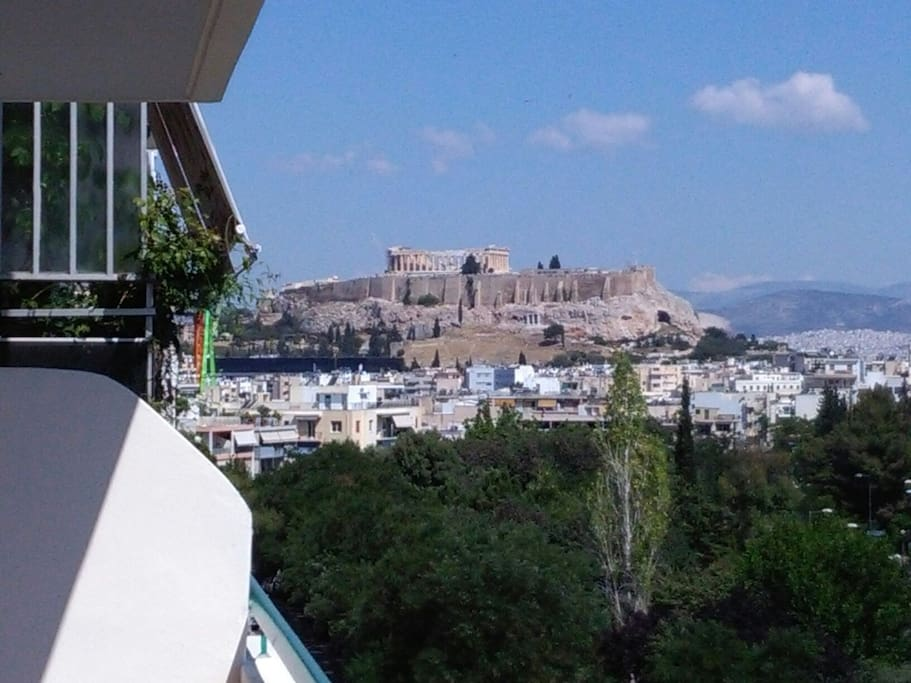 View to the Akropolis and the Museum standing on the balcony