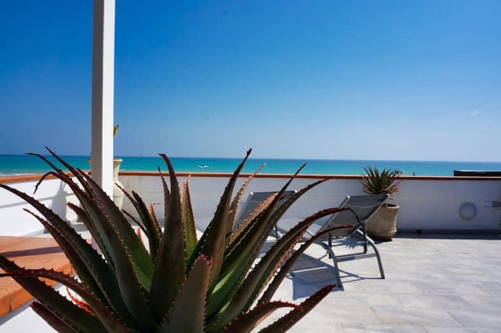 50 m from beach, sea view, spacious roof terrace