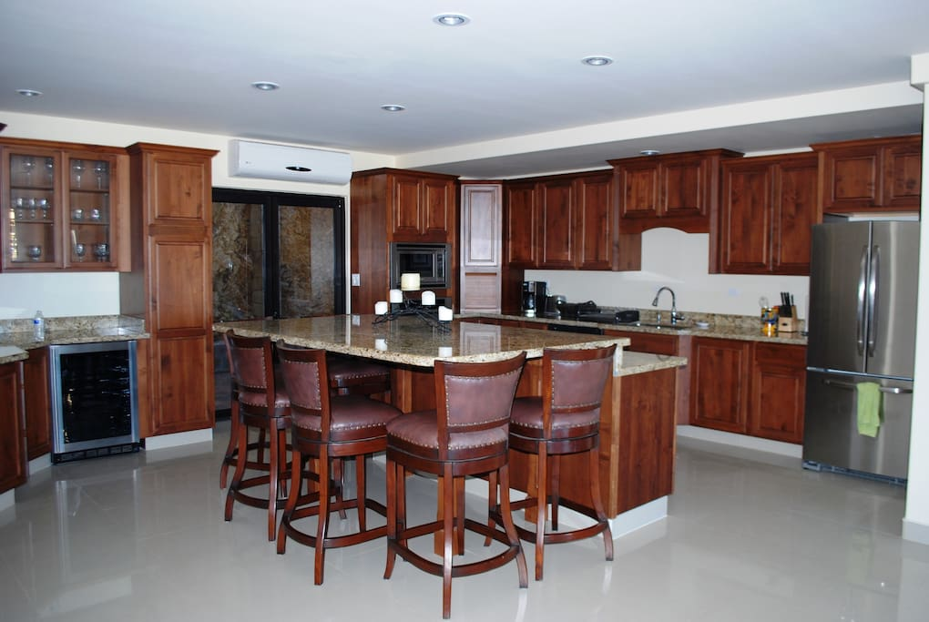 The upstairs unit offers a spacious kitchen.
