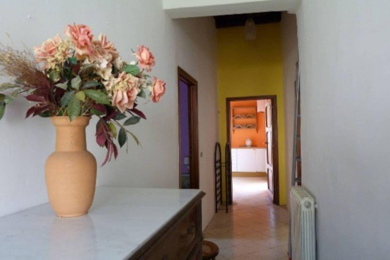 Questo l'ingresso,in fondo la cucina con un terrazzino,a sx una stanza da letto,a dx il soggiorno con terrazzo