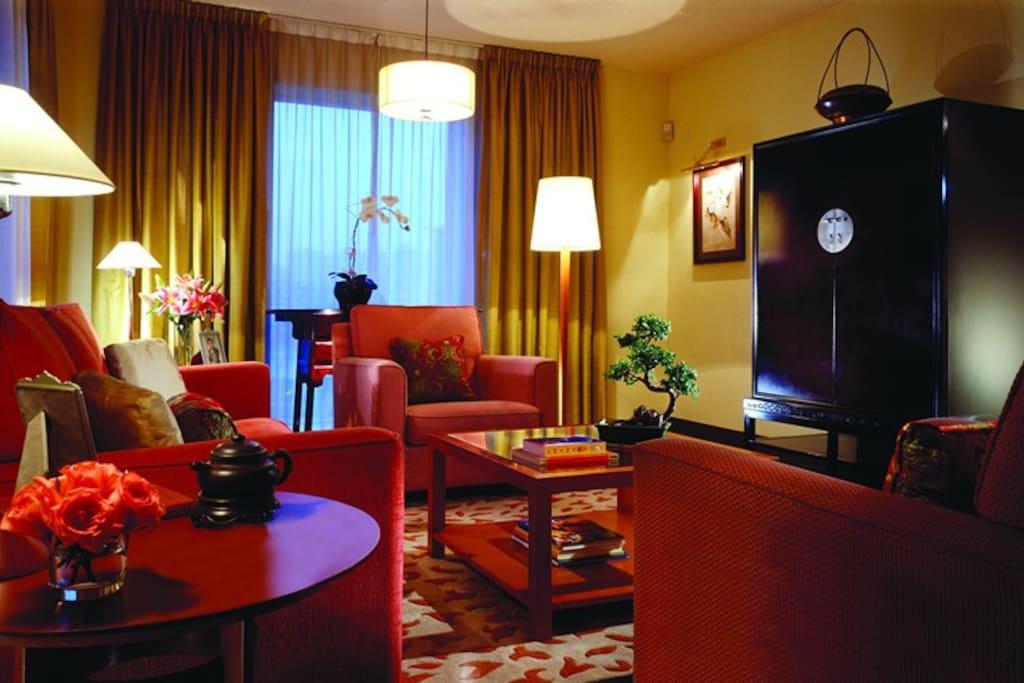 宽敞的客厅带无线网络、平板电视、无线电话、沙发