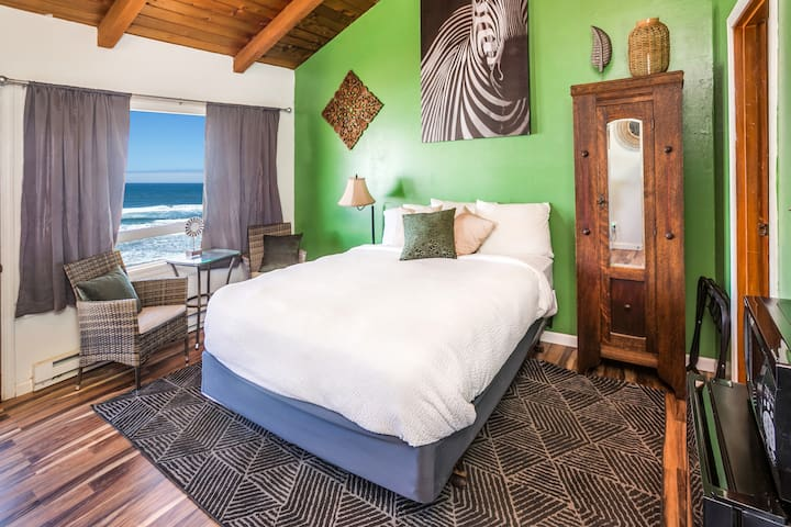 Oceanfront Safari themed room with private deck