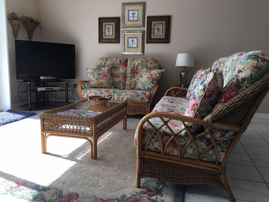 Comfortable seating in bright, sunny lounge area