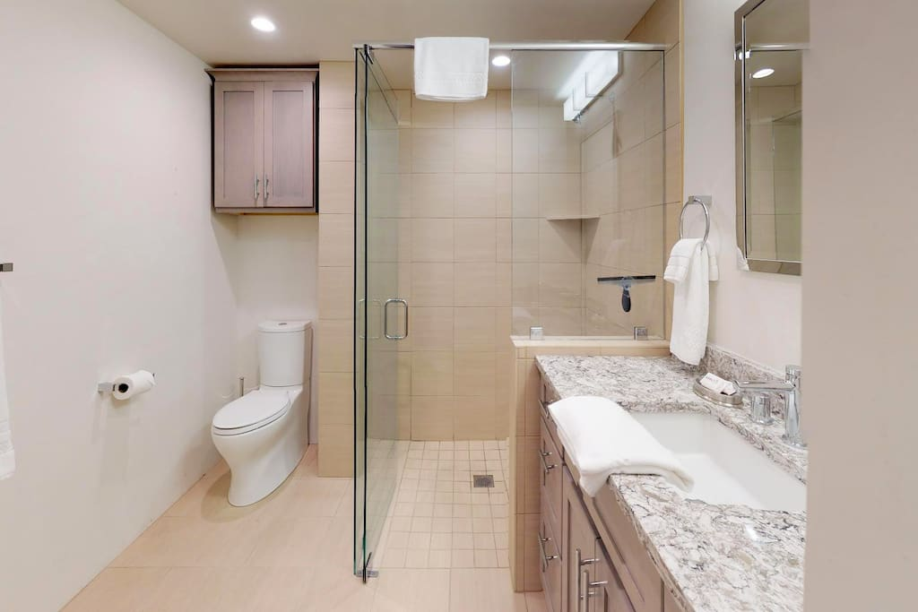 Bathroom with walk in shower and granite counter tops