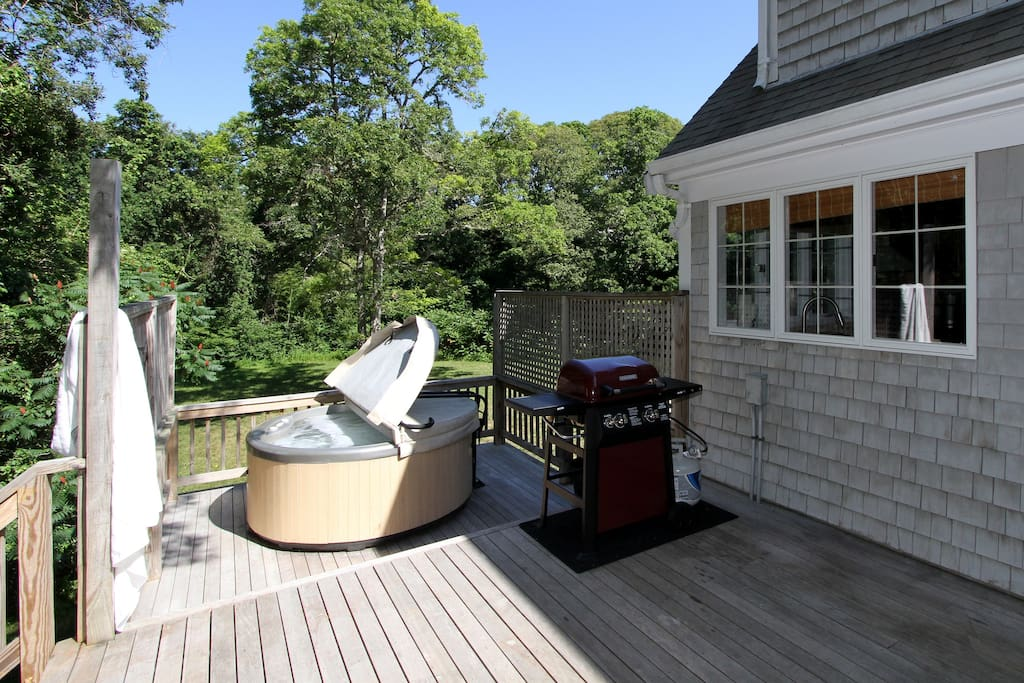 On the back deck, you'll find a hot tub and grill