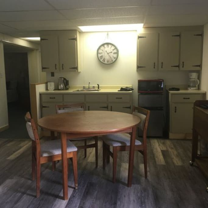This clean, spacious kitchen comes fully equipped with cutlery, dishes, coffee and more.