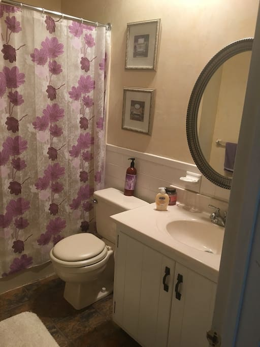 Private bathroom. Shampoo, conditioner, body wash, and lotion available as well.