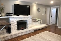Added electric heater fireplace.
