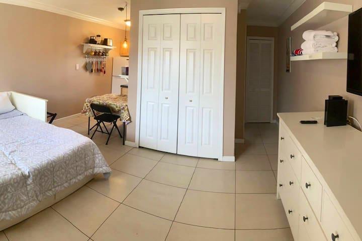 Kitchen, closet, bathroom