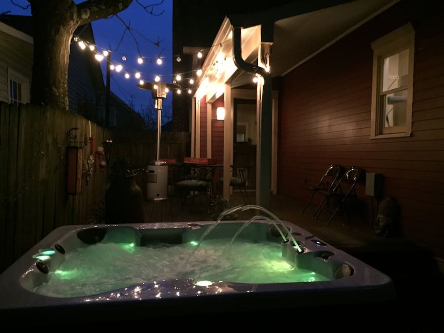 Hot tub on the back porch!