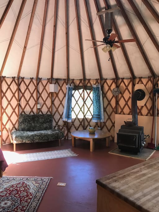 Wood stove and ceiling fan