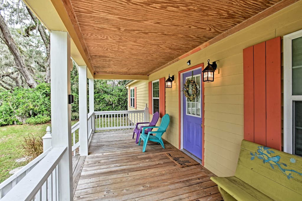 Relax on the front porch overlooking the peaceful neighborhood.