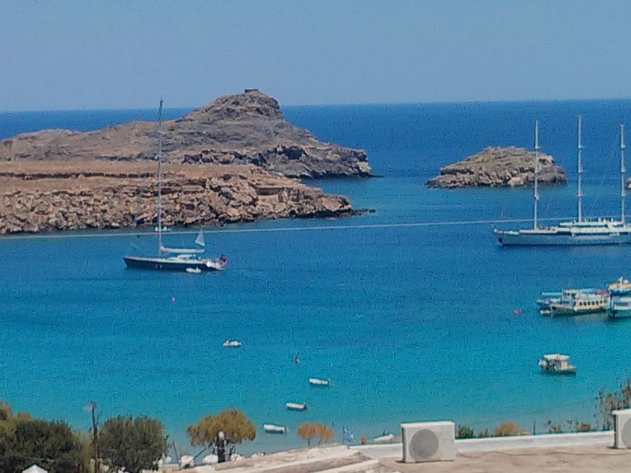 View of Lindos Bay from the Studios