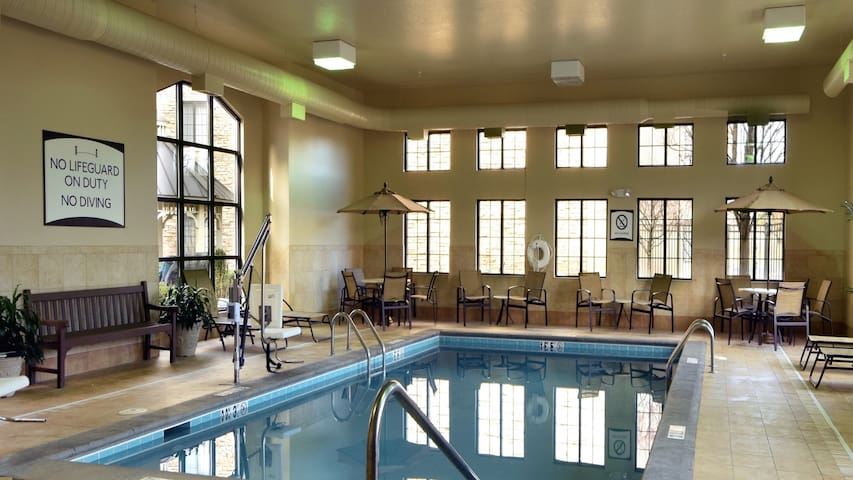 Free Daily Breakfast, Fitness Center, Indoor Pool & Hot Tub.
