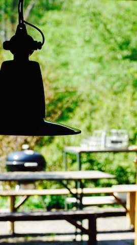 Big weber barbecue in garden