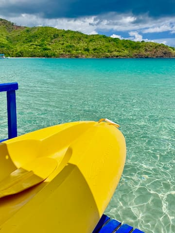 Photo taken from our boat, with our kayak. Just front of your beach cottage.