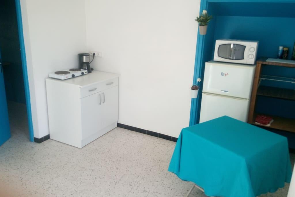 Une cuisine équipée : frigo, micro-ondes, plaques de cuisson et cafetière.